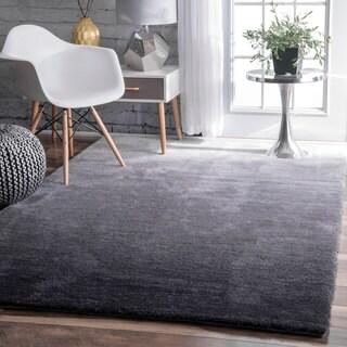 nuLOOM Handmade Soft and Plush Ombre Shag Grey Rug (4' x 6')