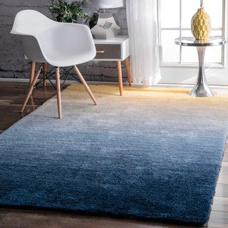 nuLOOM Handmade Soft and Plush Ombre Shag Navy Rug (4' x 6')