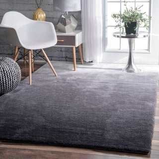 nuLOOM Handmade Soft and Plush Ombre Grey Shag Rug (5' x 8')