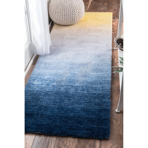 Plush Navy Rug: Shop NuLOOM Handmade Soft And Plush Ombre Shag Navy Runner