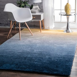 nuLOOM Handmade Soft and Plush Ombre Navy Shag Rug (8' x 10')