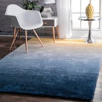 nuLOOM Handmade Soft and Plush Ombre Navy Shag Rug - 8' x 10'