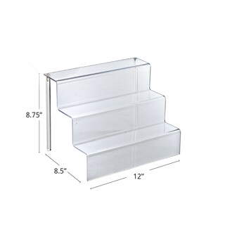 Azar 326043 Three-Tier Counter Step Display: 12 W x 8.5 D x 8.75 H, 4Pack