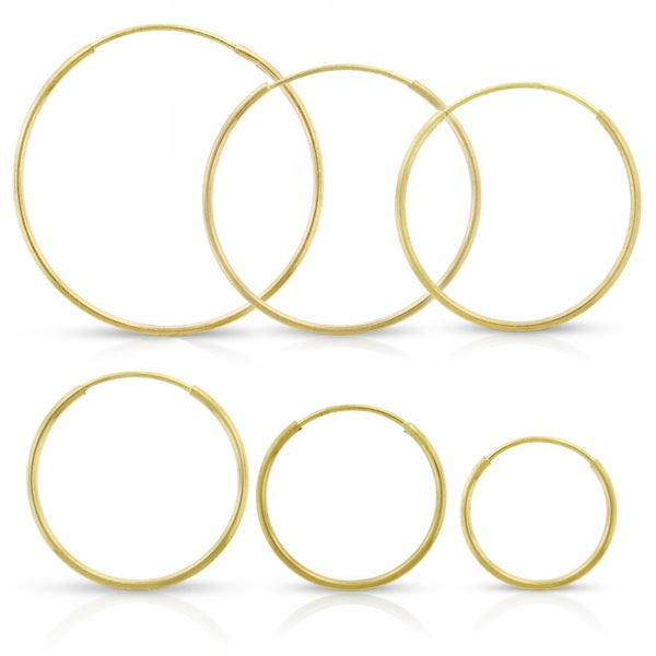 9527694f5 Shop 14k Yellow Gold Womens 1mm Round Endless Tube Hoop Earrings ...