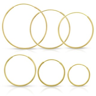 14k Yellow Gold Womens 1mm Round Endless Tube Hoop Earrings