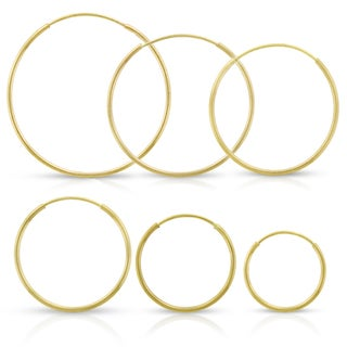 14k Yellow Gold Womens 1mm Round Endless Tube Hoop Earrings (More options available)