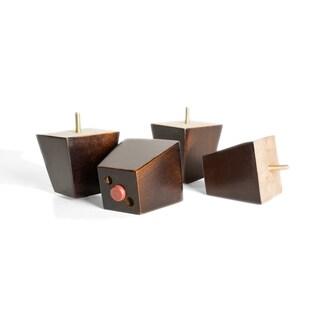 MJL Furniture Designs Small 3 1/4 Inch Tall Block Wooden Furniture Feet