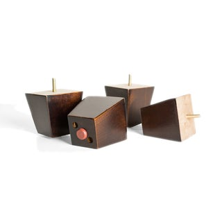 MJL Furniture Designs Small 3-1/4-inch Tall Block Wooden Furniture Feet (Set of 4)