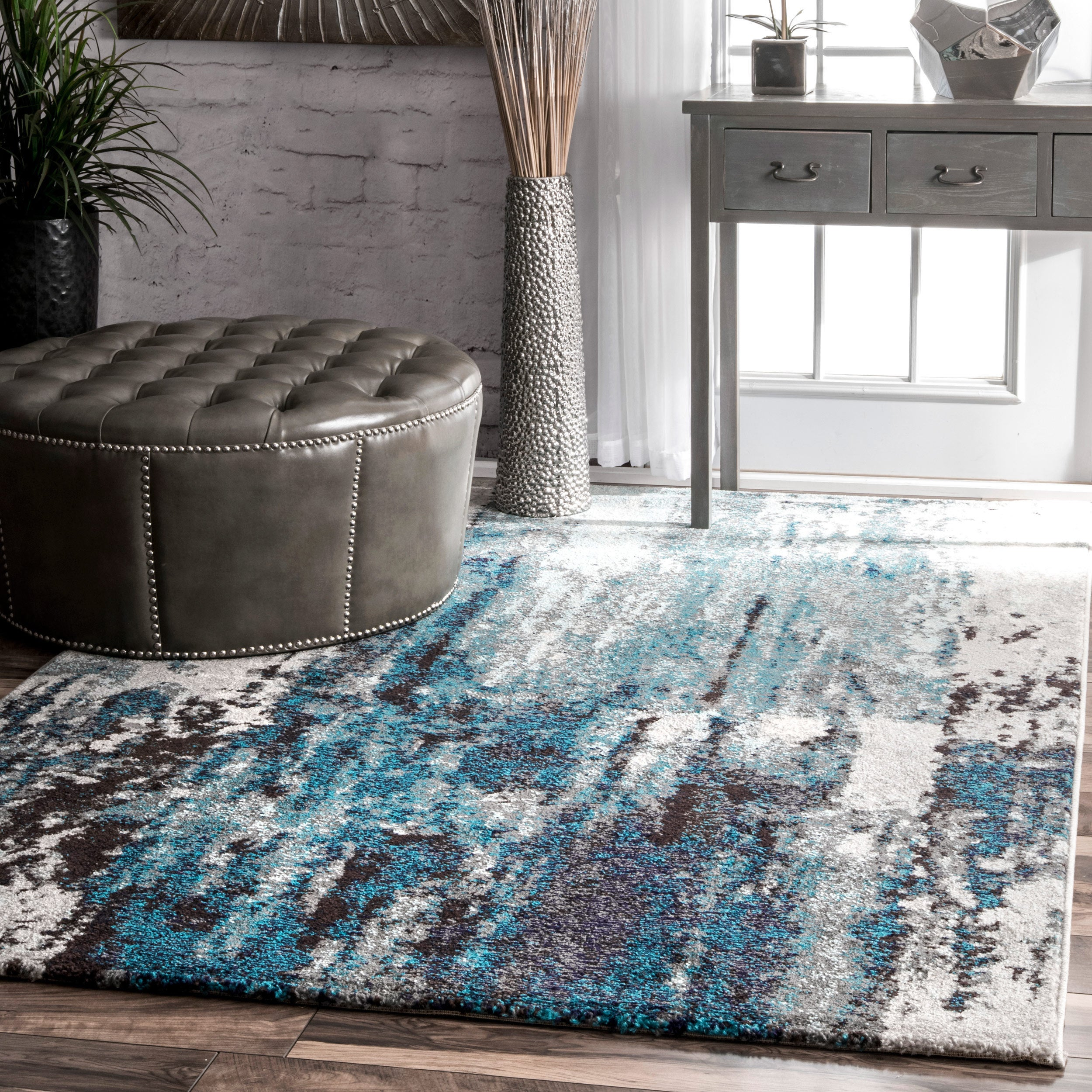 nuLOOM Contemporary Abstract Painting Blue Rug 5u0026x27