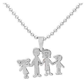 Silvertone Stainless Steel Family-themed Necklace