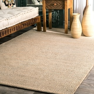 nuLOOM Handmade Flatweave Contemporary Solid Cotton Beige Rug (4' x 6')