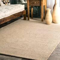 nuLOOM Handmade Flatweave Contemporary Solid Cotton Beige Rug (4' x 6')