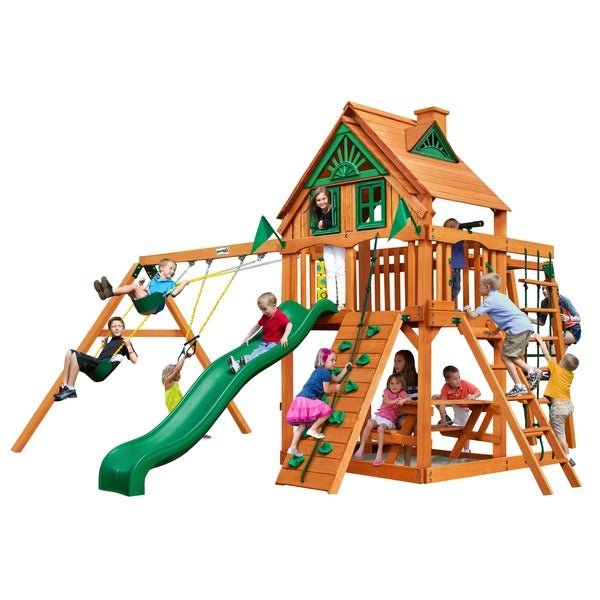 Gorilla Playsets Navigator Treehouse Swing Set with Fort Add-on and Amber Posts
