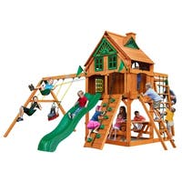 Gorilla Playsets Navigator Treehouse Cedar Swing Set with Fort Add-on and Natural Cedar Posts
