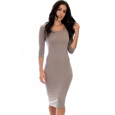 Lyss Loo True 2 You 3/4 Sleeve Midi Dress D2049