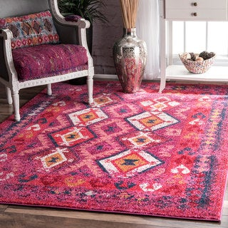 nuLOOM Geometric Tribal Diamond Pink Rug (4' x 6')