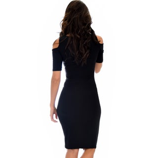 Lyss Loo Here To Party Open Shoulder Bodycon Midi Dress D2046