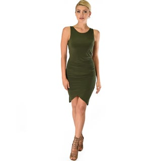 Lyss Loo Take Me Out Ruched Bodycon Midi Dress D2047