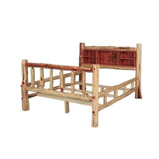 Red Cedar Log Bookcase Bed w/ Double Side Rails - Wood Burnt Elk