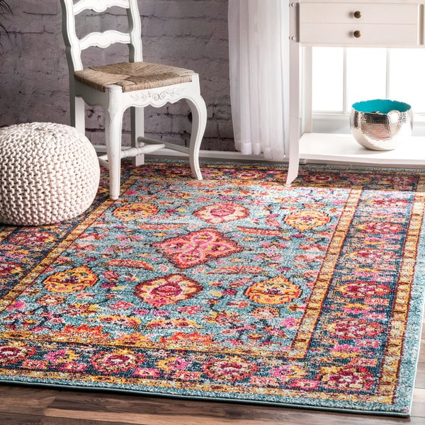 Nuloom Vintage Inspired Turquoise Overdyed Rug: NuLOOM Traditional Vintage Inspired Floral Aqua Rug (5' X