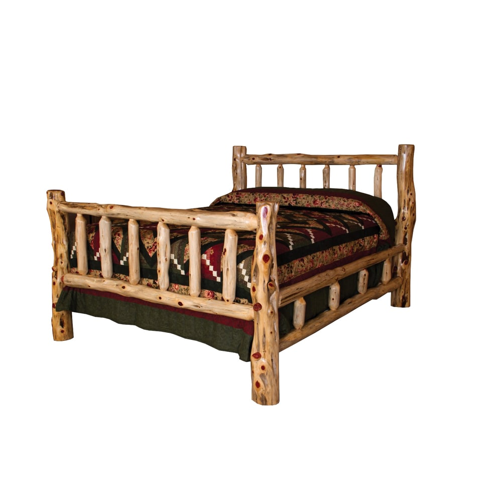 Rustic Red Cedar Log Mission Style Bed with Double Side Rail (Queen - Queen)