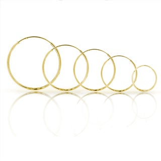 14k Yellow Gold Womens DIamond Cut Round Endless Tube Hoop Earrings