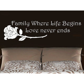 Quote Family Where Life Begins Love never ends Phrase Home Decor Bedroom Art Design Sticker Decal size 22x30 Color Black