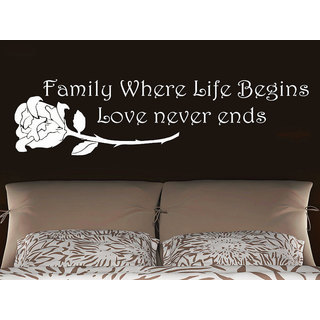 Quote Family Where Life Begins Love never ends Phrase Home Decor Bedroom Art Design Sticker Decal size 33x45 Color Black