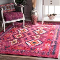 The Curated Nomad Cabrillo Diamond Pink Tribal Area Rug - 9' x 12'