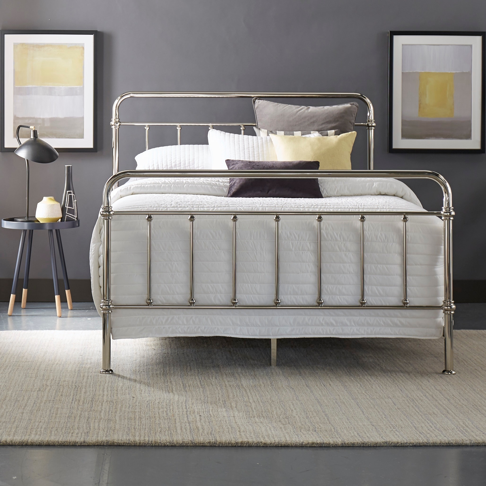 Giselle Graceful Lines Victorian Chrome (Grey) Metal Bed ...