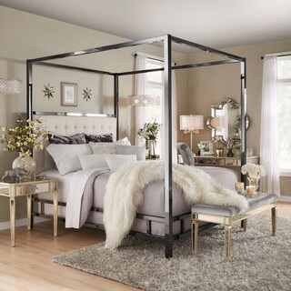 Solivita King-Sized Canopy Black Nickel Metal Poster Bed by INSPIRE Q (3 options available)