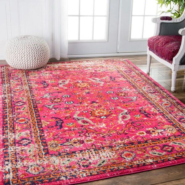 NuLOOM Traditional Vintage Floral Distressed Pink Rug (3