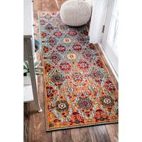nuLOOM Distressed Traditional Trellis Floral Persian Multi Runner Rug (2'6 x 8')