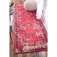 nuLOOM Traditional Vintage Floral Distressed Pink Runner Rug (2'6 x 8')