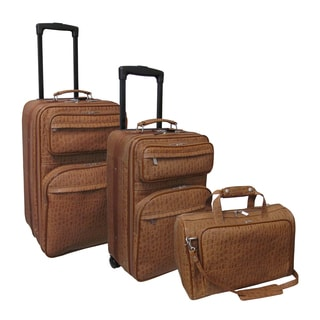 Amerileather Chai River Brown Leather Pebble-Print 3-Piece Luggage Set