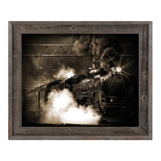 Brown Rays Railroad Wood Framed Canvas Wall Art