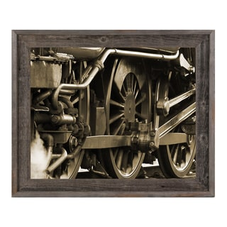 'Sepia Locomotion' Wood Framed Canvas Wall Art