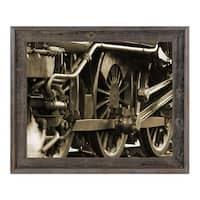 'Sepia Locomotion' Wood Framed Canvas Wall Art