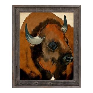Buffalo Reclaimed Wood Framed Canvas Wall Art