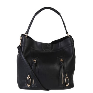Diophy Front Zipper Decor Hobo Handbag with Removable Strap