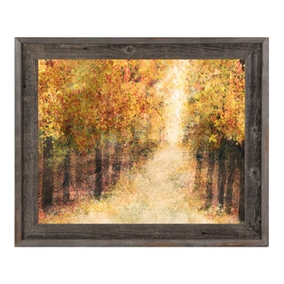 'Yellow Fall Forest' Wood Framed Canvas Wall Art