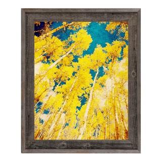 Golden Forest Wood Framed Canvas Wall Art