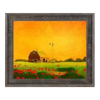 Farm at Sunset Wood Framed Canvas Wall Art