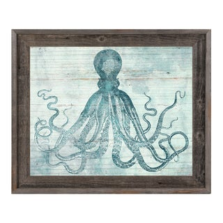 'Vintage Octopus Ocean' Wood Framed Canvas Wall Art