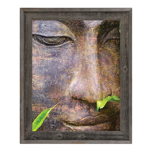 Buddha Head\' Reclaimed Wood Framed Canvas Wall Art - Free Shipping ...