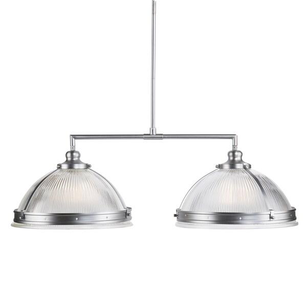 Harper Blvd Ellendale Double Half Globe Island Pendant Lamp - Satin Chrome