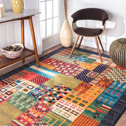 nuLOOM Blue Southwestern Tribal Patchwork Area Rug