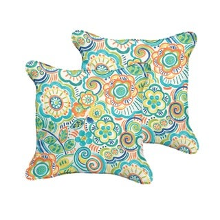 Selena Blue Rio Floral Indoor/ Outdoor Corded Square Pillows