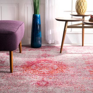 nuLOOM Traditional Overdyed Medallion Pink Rug (4' x 6')