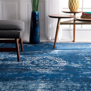 nuLOOM Traditional Overdyed Medallion Blue Rug (4' x 6')